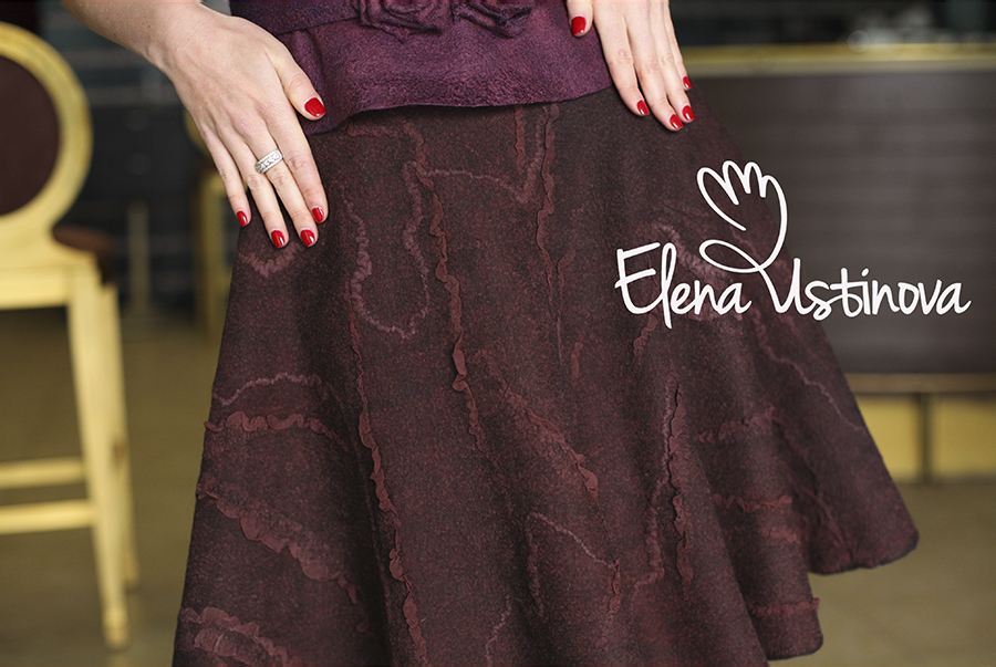 валяная нуно войлочная юбка клеш с шелковыми рюшами елена устинова elena ustinova felted skirt felt nuno organic wool elena ustinova елена устинова