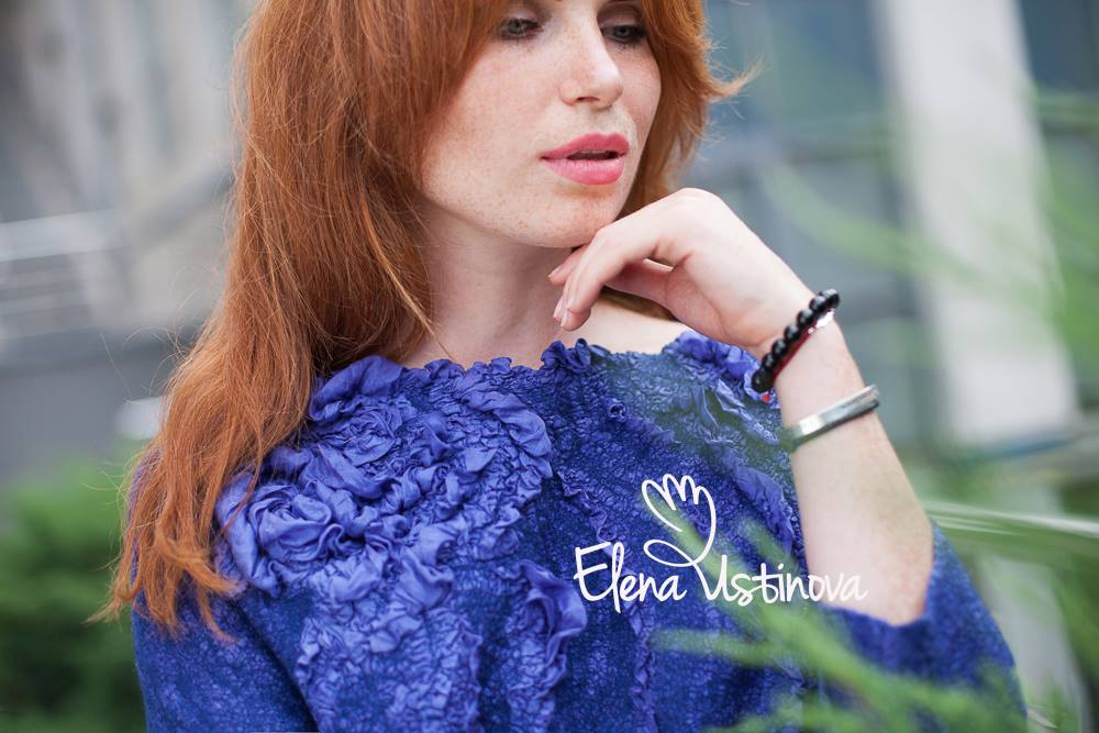 нуно-войлочная блузка с шелковым цветком елена устинова Elena Ustinova felted blouse felt nuno eco friendly natural wool мастер класс валяние