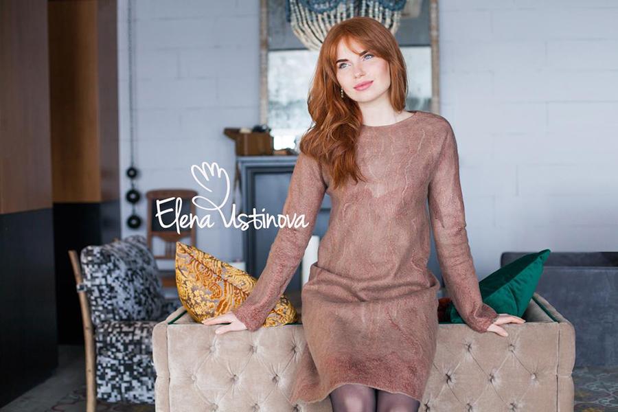 платье с длинным рукавом валяное нуновойлок felted dress felting clothing nuno eco friendly