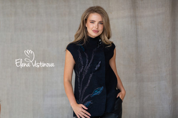 валяный нуно войлочный жилет с пайетками и декором felted vest ecofriendly natural wool vest elena ustinova елена устинова жилет ручной работы