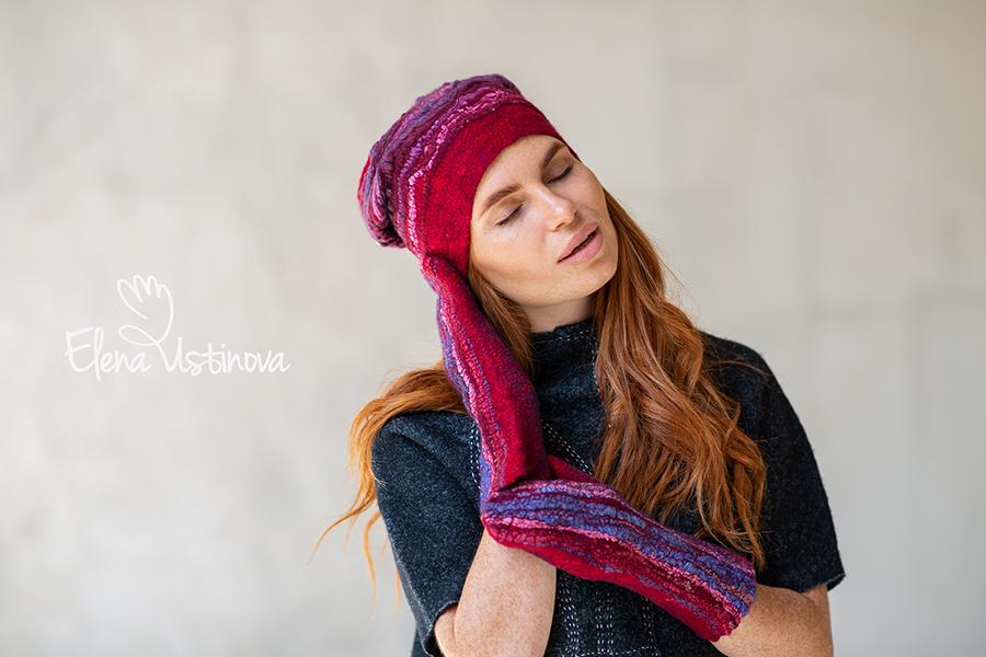 валяная шапочка митенки варежки с пайетками фактурными декорами felted beanie mittens glamour wrap hat wool gloves fingerless