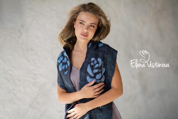 авторский валяный шарф палантин валяный нуно войлок елена устинова elena ustinova felt scarf eco fashion nuno