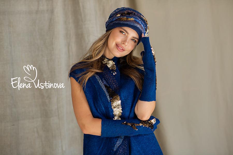 Комплект Синий шапка и митенки