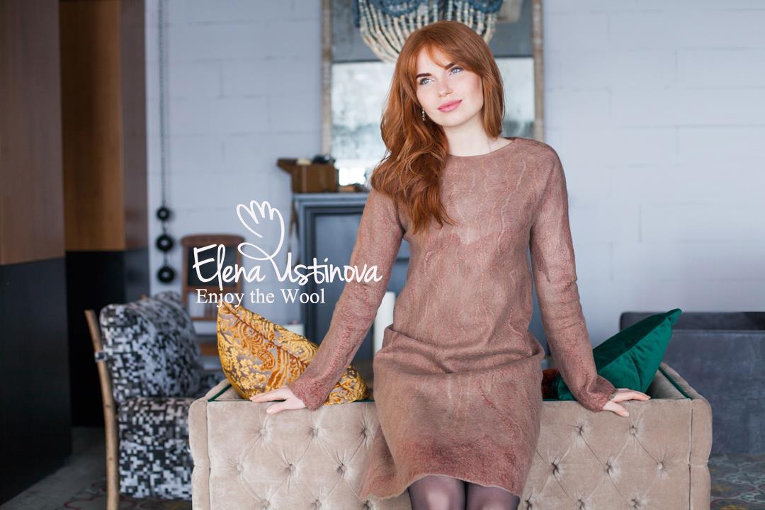 платье с длинными рукавами валяное нуновойлок felted dress felting clothing nuno eco friendly елена устинова elena ustinova