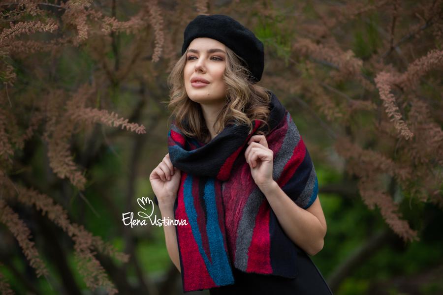 елена устинова палантин валяный нуно войлок мокрое валяние мастер классы elena ustinova felt nuno felting handmadefelt feltingwool feltingtutorial шарф шапка scarf