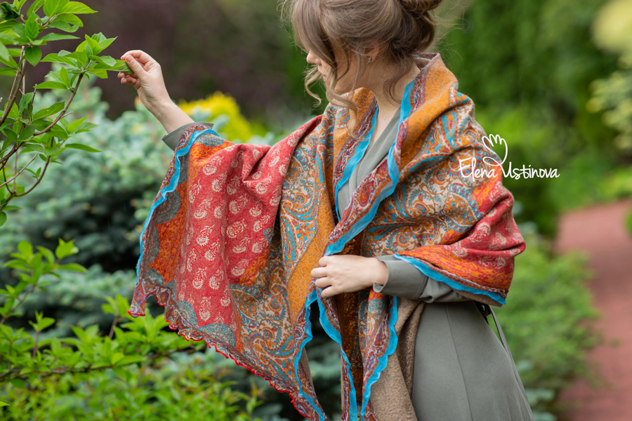 елена устинова палантин валяный школа валяния онлайн нуно войлок felted nuno elena ustinova scarf